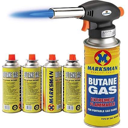 Soplete quemador para botellas de gas butano, lanzallamas, para soldar o cocinar, con