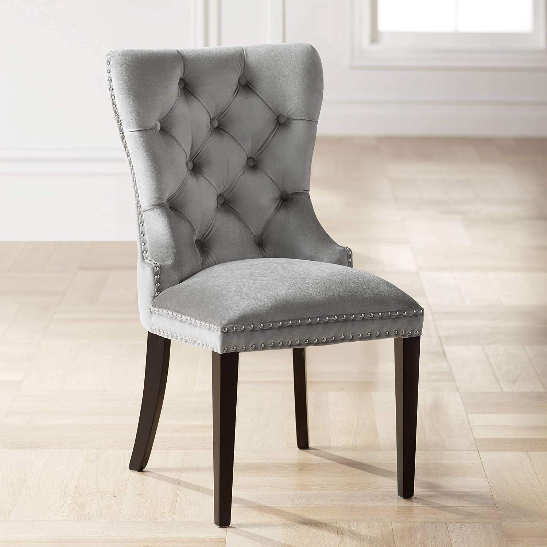 Amazon Com Euphoria Tufted Gray Velvet Dining Chair Studio 55d Chairs