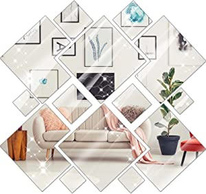 26 Pieces Square Removable Acrylic Mirror Setting Wall Sticker Decal DIY Art Wall Sticker for Home Living Room Bedroom Decor