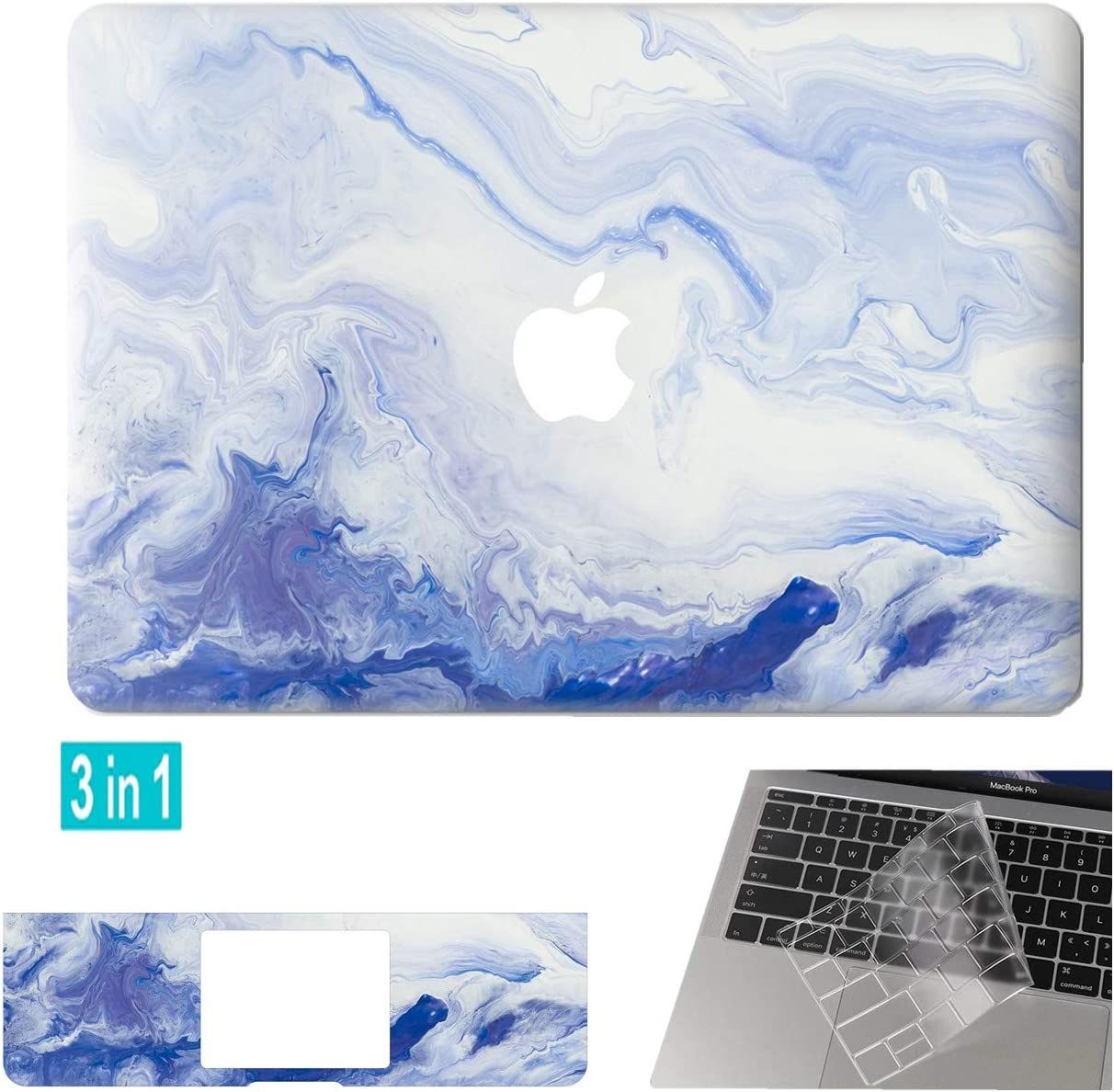 DowBier Hard Shell Case & Keyboard Cover & Sticker Bundle Compatible with Apple MacBook (Pro 13 Inch Retina A1425/A1502, Flow Blue)