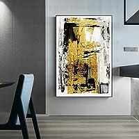FENGJIAREN Pittura A Olio Dipinta A Mano di 100% Pura Costruzione Astratta della Stagnola di Oro Nero Pittura A Olio Moderna E Minimalista di Arte Adatti per La Pittura Decorativa del Portico del Sa
