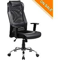 KADIRYA High Back Mesh Office Chair   Ergonomic Computer Desk Task Executive  Chair With Padded Leather