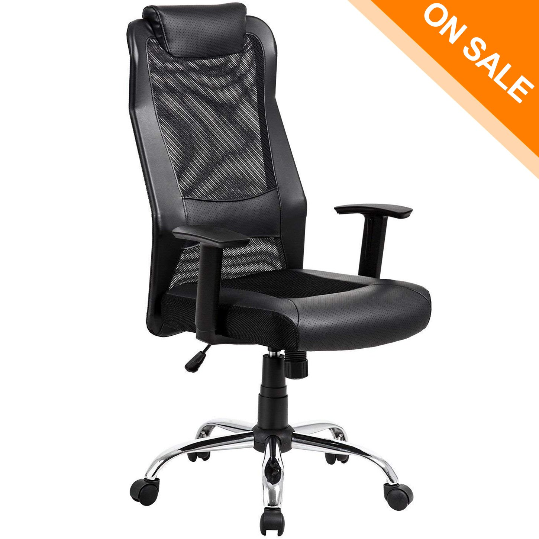 KADIRYA High Back Mesh Office Chair - Ergonomic Computer Desk Task Executive Chair with Padded Leather Headrest and Seat,Adjustable Armrests, Black (Black)