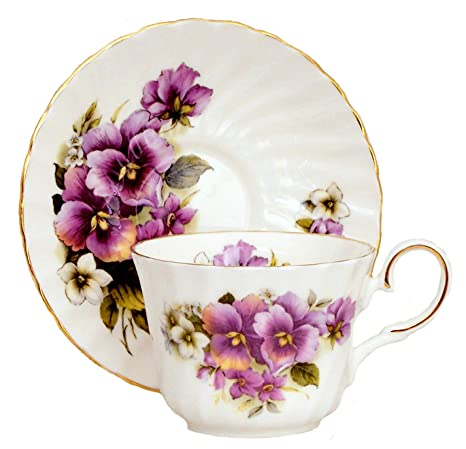 Pansy Fine English Bone China tea cup and saucer (1)