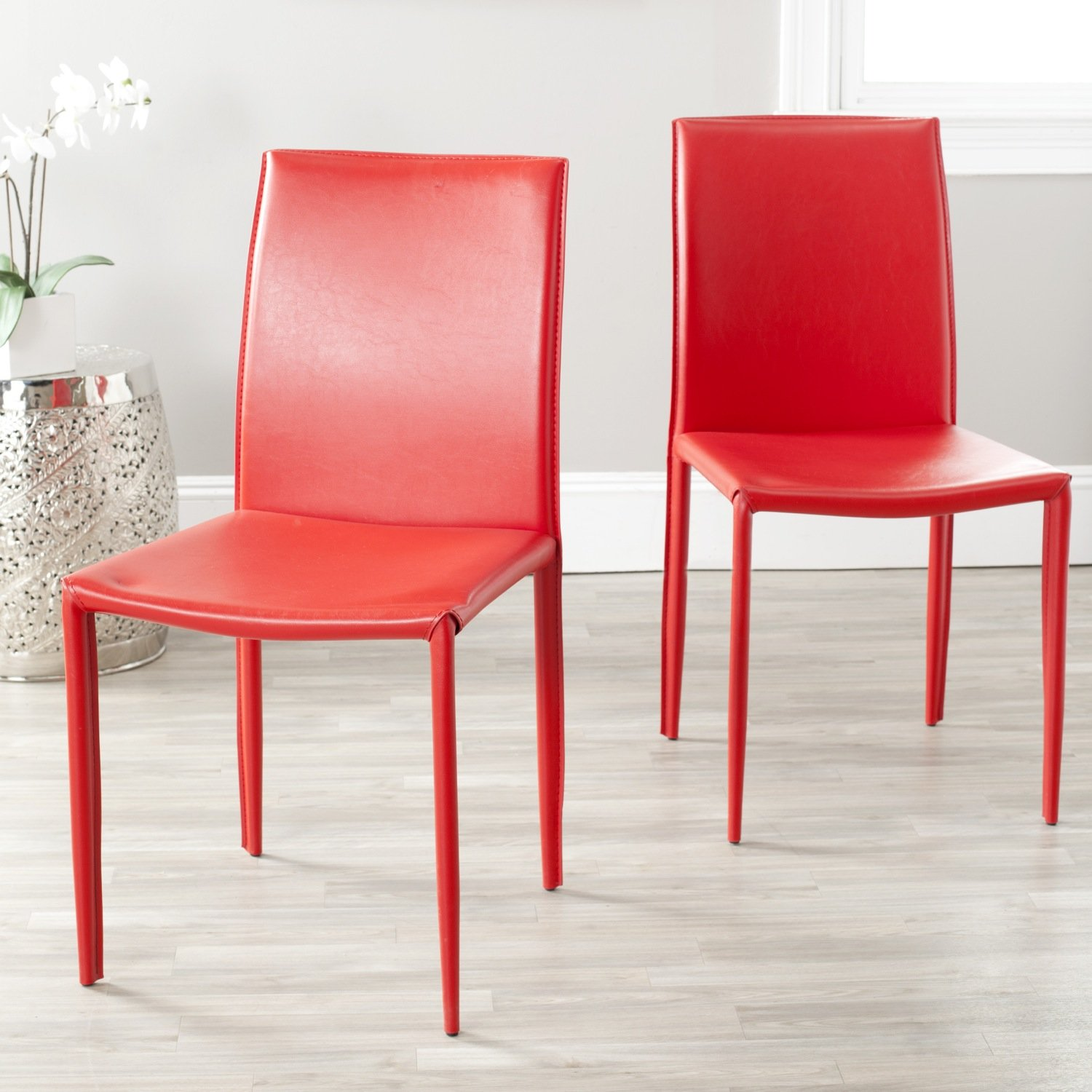 Amazon Safavieh Karna Mid Century Modern Red Dining Chairs