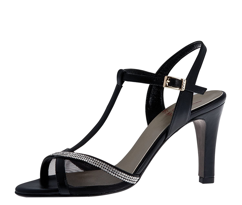 Fiarucci Party Pumps Pumps Pumps Sandalette Nicolette - Schwarz Leder Glitzer Riemchen - Damen Größe 41 EU 8 UK 121ffc
