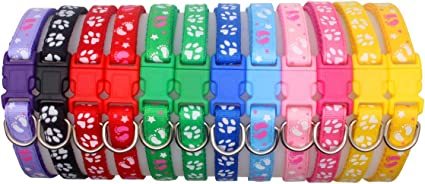 YOY 12 pcs//Set Soft Nylon Puppy Whelping ID Collars Neck 8-13 Adjustable Reusable Washable Baby Dog ID Bands Pet Identification for Breeders