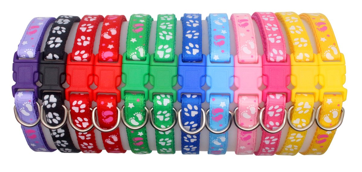 YOY 12 pcs/Set Soft Nylon Puppy Whelping ID Collars - Adjustable Reusable Washable Baby Dog ID Bands Pet Identification for Breeders, Neck 8'' - 13'' by YOY