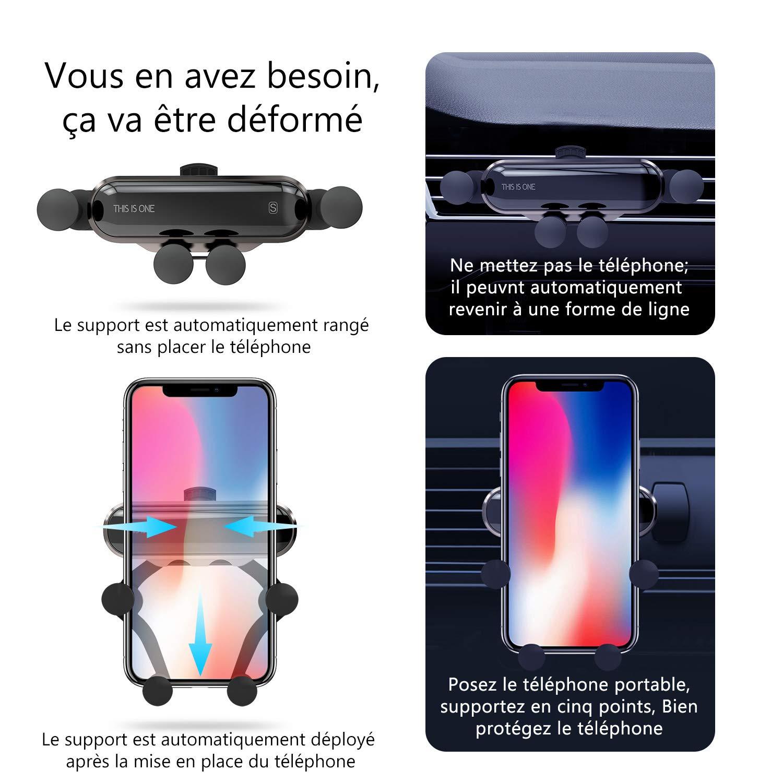 Huawei Support T/él/éphone Voiture r/étractable /à Grille da/ération pour iPhone Argent Sony Oneplus Ossky Support de t/él/éphone Voiture Ventilation Nokia Samsung