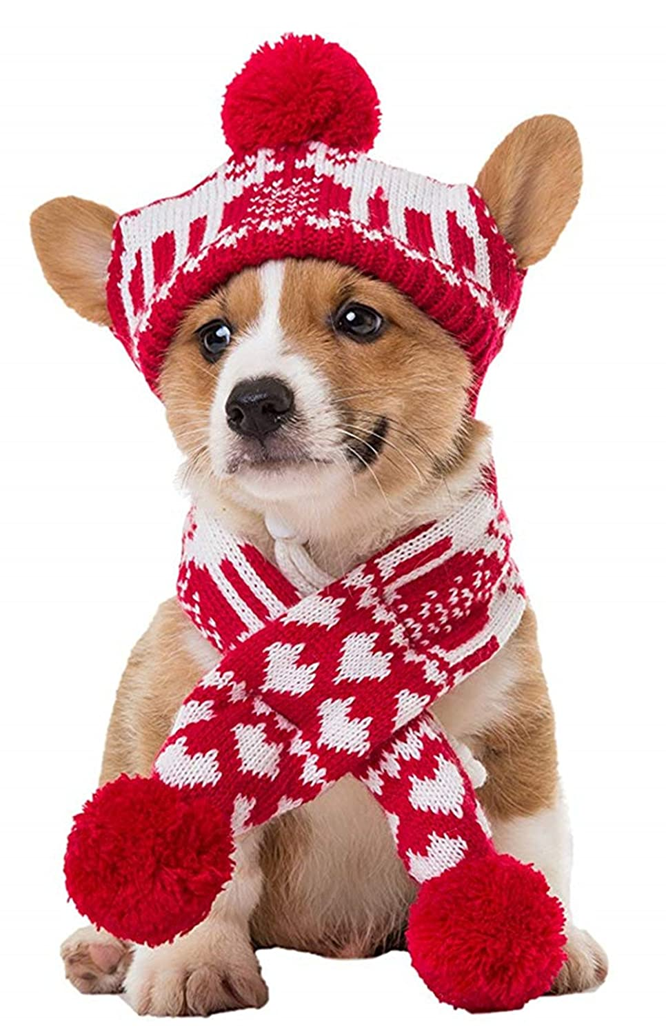 Knit Christmas Reindeer Scarf and Hat Set for Pet
