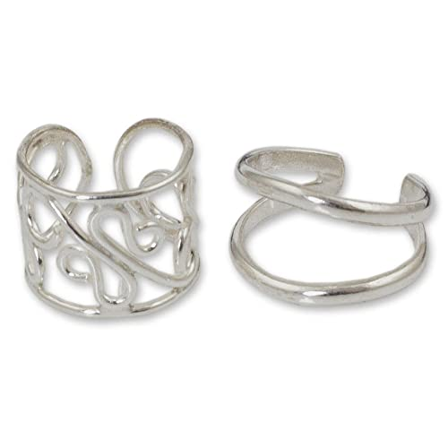 NOVICA .925 Sterling Silver Handmade Non Pierced Ear Cuff Earrings 'Sleek Filigree', (Pair)
