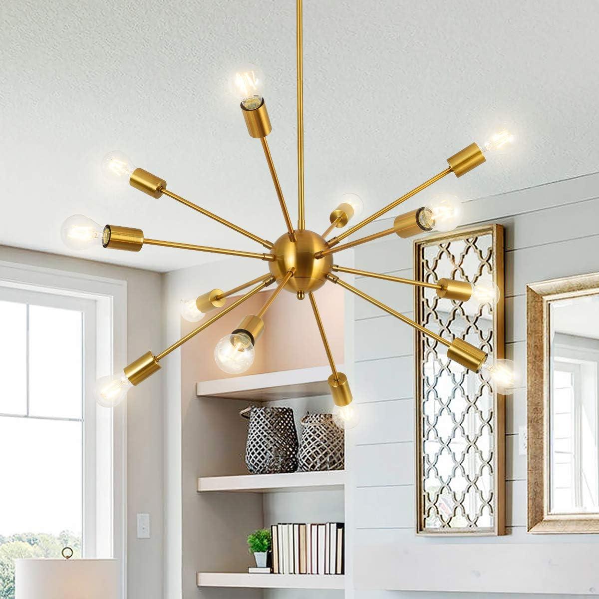 Modern Sputnik Chandelier 12 Lights Mid Century Vintage Ceiling Pendant Light Fixture for Kitchen Island Bar Living Room, Brushed Brass