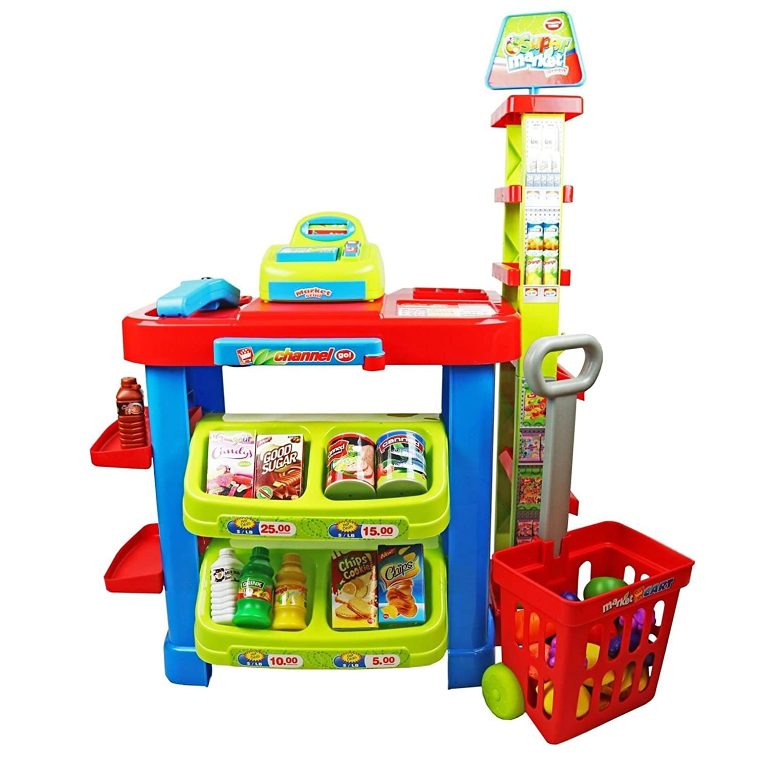 Kids Pretend Play Shopping Toy Grocery Can Food Basket Kitchen Store Accessory