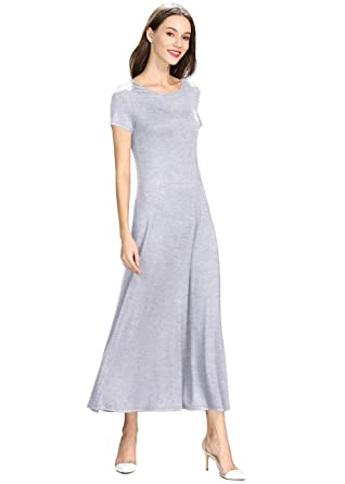 10199a5c5b3b Petrichor Women s Modal Casual Maxi Dress Short Sleeve Round Neck Floor  Long Flowy Dresses (GR