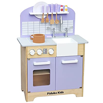 Charmant Pidoko Kids Kitchen Play Set   Classic Wooden Toy Kitchen For Boys And  Girls   Includes