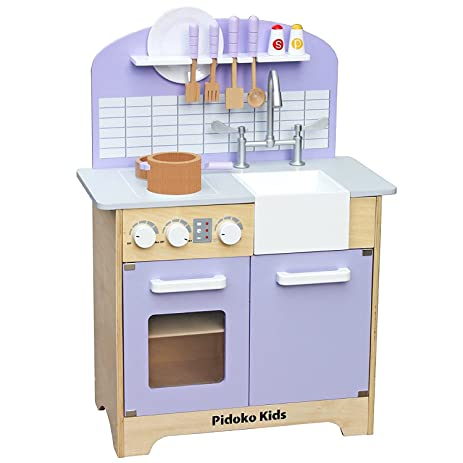 Pidoko Kids Kitchen Play Set   Classic Wooden Toy Kitchen For Boys And  Girls   Includes