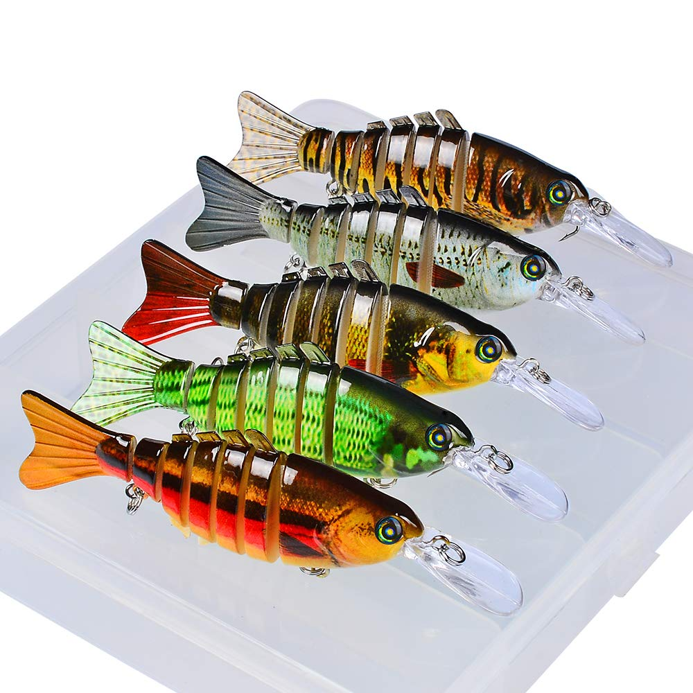 Sunlure Fishing Lures Bass Swimbait Lure Crankbaits Artificial Bait Multi Jointed Lifelike Trout Hard Baits Fish Tackle Kits with Box 5 pcs/Set