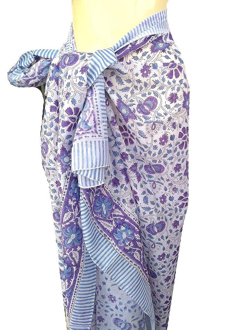 Rastogi Handicrafts 100% Cotton Hand Block Print Sarong Womens Swimsuit Wrap Cover Up Long (73 x 44)