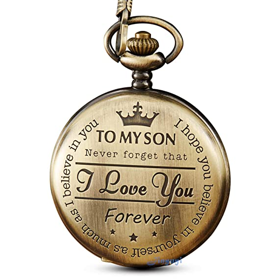 6e4e2284c Bronze Engraved Pocket Watch to Son I Love You Gifts from a Mom Dad  Birthday Gift
