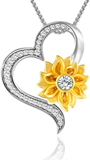 SNZM Love Necklace Gifts for Women Sunflower Heart Pendant Necklace for Girlfriend Mother, You are My Sunshine Jewelry for Va