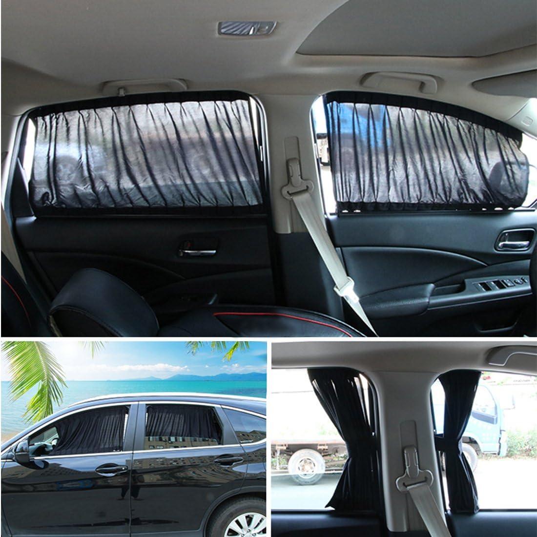Andux Zone Auto Seite Fenster Vorhang Baumwolle Sonne Schatten 1 Paar Pbcl 01 Schwarz 50l Auto