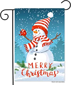 Winter Christmas Cute Snowman Garden Flag-12x18 Double Sided Holiday Xmas Snowflak Happy New Year Vertical Yard Flags Banner for Lawn House Christmas Outside Decorations