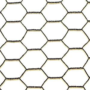 Steel Hex Web DE1522 Fence: Black Vinyl Coated Galvanized Wire Animal Control-2 ft x 150