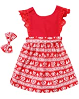 Ma&Baby Christmas Toddler Newborn Kids Baby Girls Dress Clothes Romper Playsuit + Headband Outfits