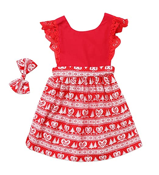 7208297b0aa2 Christmas Toddler Newborn Kids Baby Girls Dress Clothes Romper Playsuit +  Headband Outfits (1-