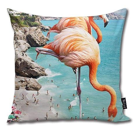 Hat New Funda de cojín de algodón con diseño de flamencos en ...