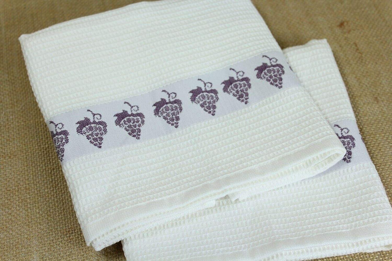 Green Apple RAVALI 2 Pack Hotel Waffle 100/% Turkish Pure Cotton Kitchen Tea Towels Fruit Boarder