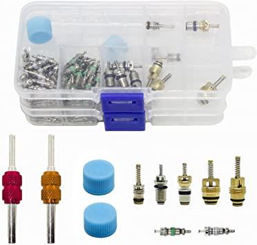 A//C High Low Side Service Charging Port with Valve Core and Cap Set R134a R12
