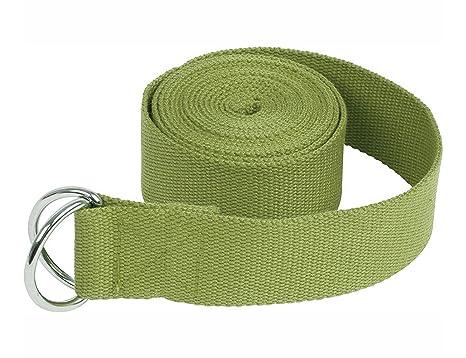 Cinturón de algodón para yoga YPS con hebilla de aro D para estiramiento de ejercicio, súper suave y durable, 1,8 m, 6 colores., mujer hombre, verde