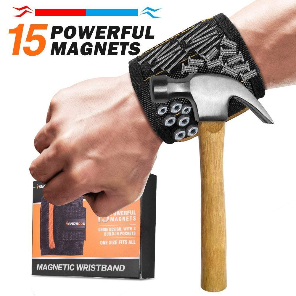Magnetic Wristband - 15 Super Strong Magnets with Adjustable Wrist Strap for Holding Screws, Nails, Bolts, Drill Bits and Small Tools - Best Unique Tool Gift for Men,Father/Dad, Boyfriend,DIY Handyman