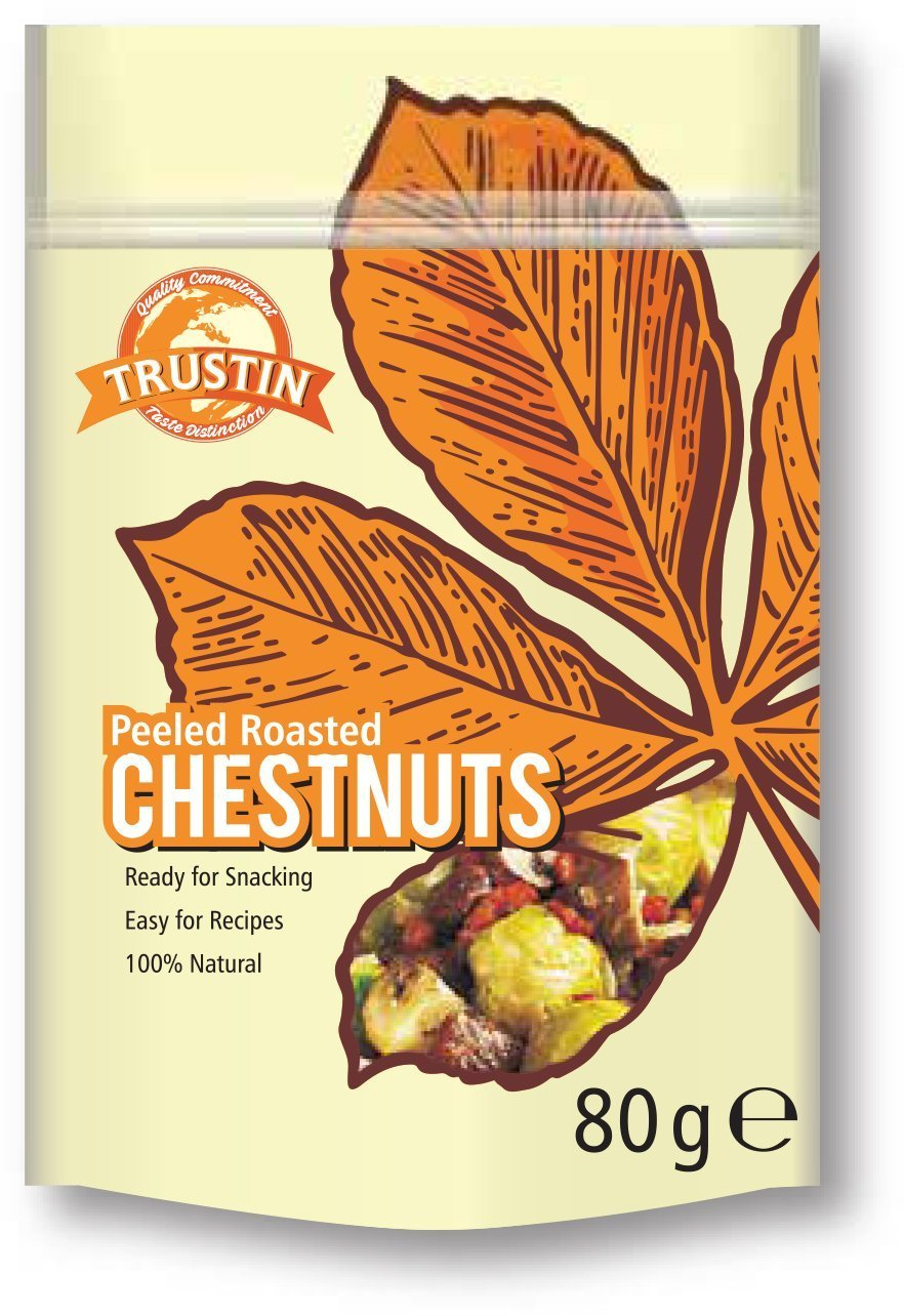 Trustin Foods Peeled Roasted Chestnuts 80g (Pack of 12)