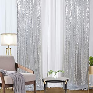Silver Sequin Backdrop Darpes 2 Pieces 2FTx8FT Glitter Christmas Backdrop Panels Wedding Party