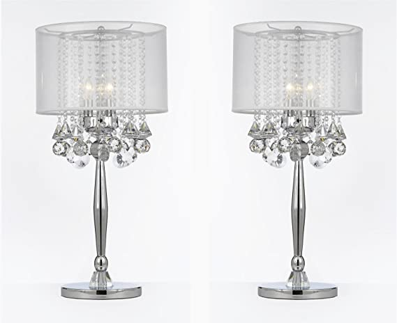 Set Of 2 Silver Mist 3 Light Chrome Crystal Table Lamp With White