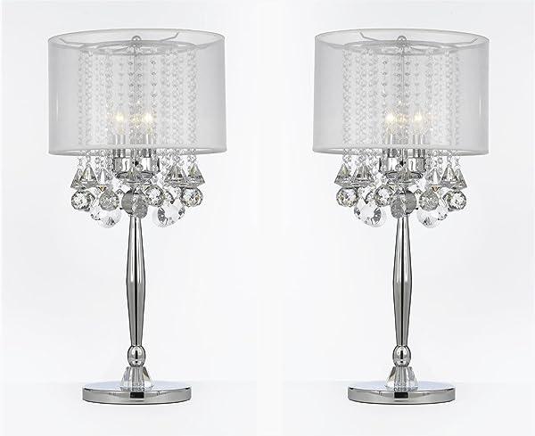 Set of 2 silver mist 3 light chrome crystal table lamp with white silver mist 3 light chrome crystal table lamp with white shade transitional mozeypictures Images