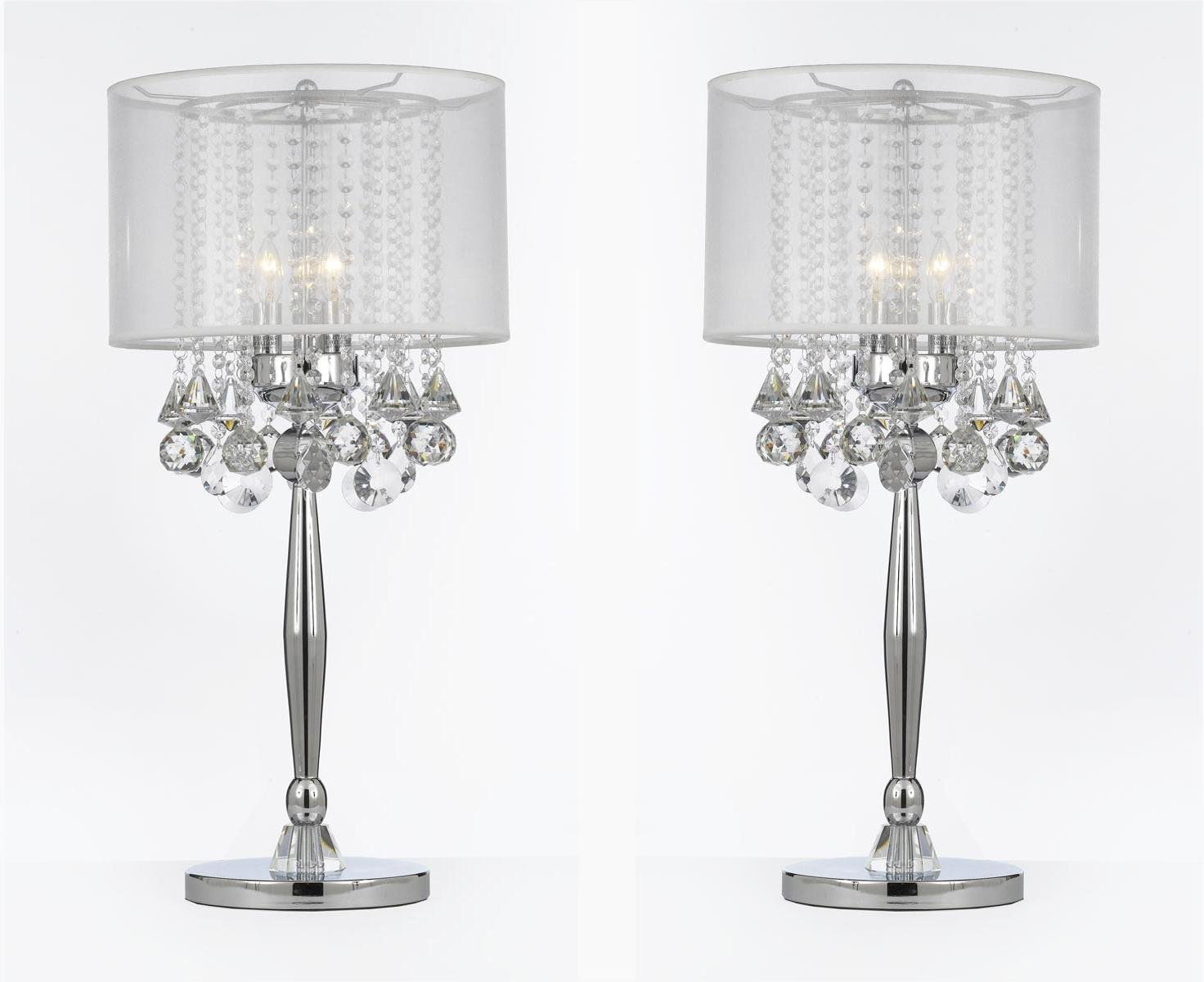 SET OF 2 ! Silver Mist 3 Light Chrome Crystal Table Lamp with White Shade Transitional Contemporary Modern Lamp