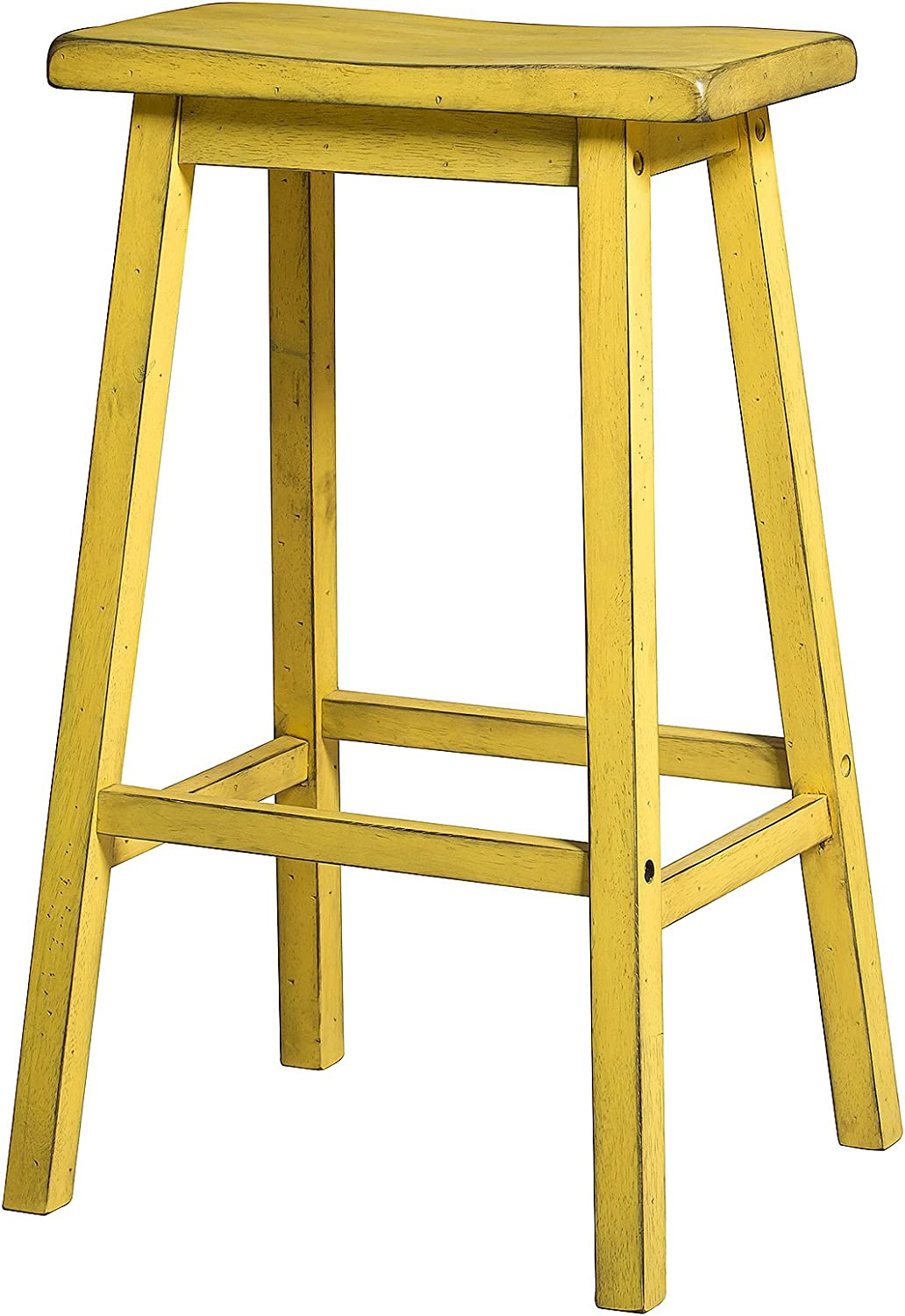 Acme Furniture Gaucho Bar Stool Set of 2 , Antique Yellow
