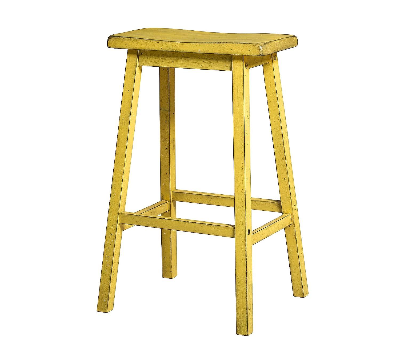 Acme Furniture Gaucho Bar Stool (Set of 2), Antique Yellow