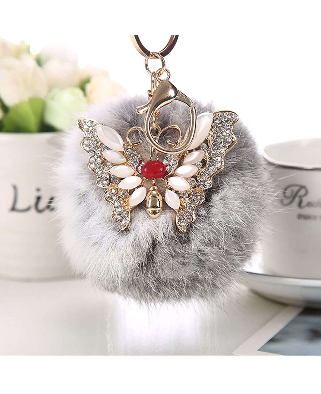 Fullkang Rabbit Fur Ball Rhinestone Butterfly Bag Plush Keychain Car Key Pendant