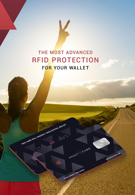 VAULTCARD - RFID Blocking/ Bloqueo RFID para tarjeta de crédito y débito/ Protección NFC para su billetera y pasaporte / Protege varias tarjetas al mismo ...