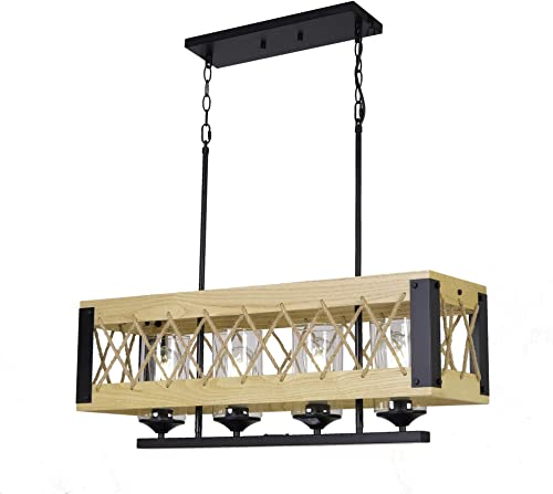 DEARLAN Wood Chandeliers Island Lights Rustic Farmhouse Chandeliers Linear Hanging Pendent Lighting Fixture 4-Lights Industrial Ceiling Light for Dining Rooms Living Room Kitchen Bar Pool Table