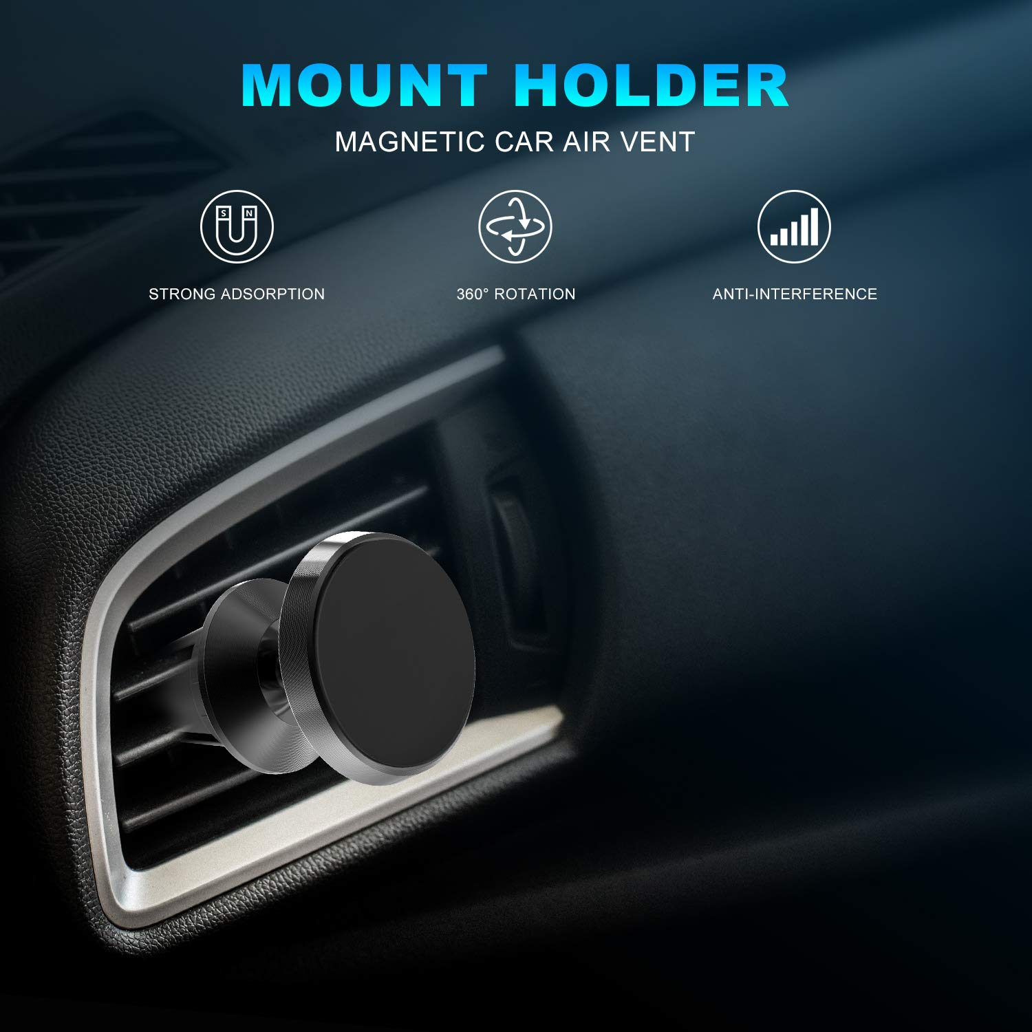 for Any Smartphone,Black Cell Phone Holder for Car with Adjustable Secure Tightening System,Vent Phone Holder Udomax Magnetic Air Vent Car Phone Mount,Built-in 4 Strong Magnets