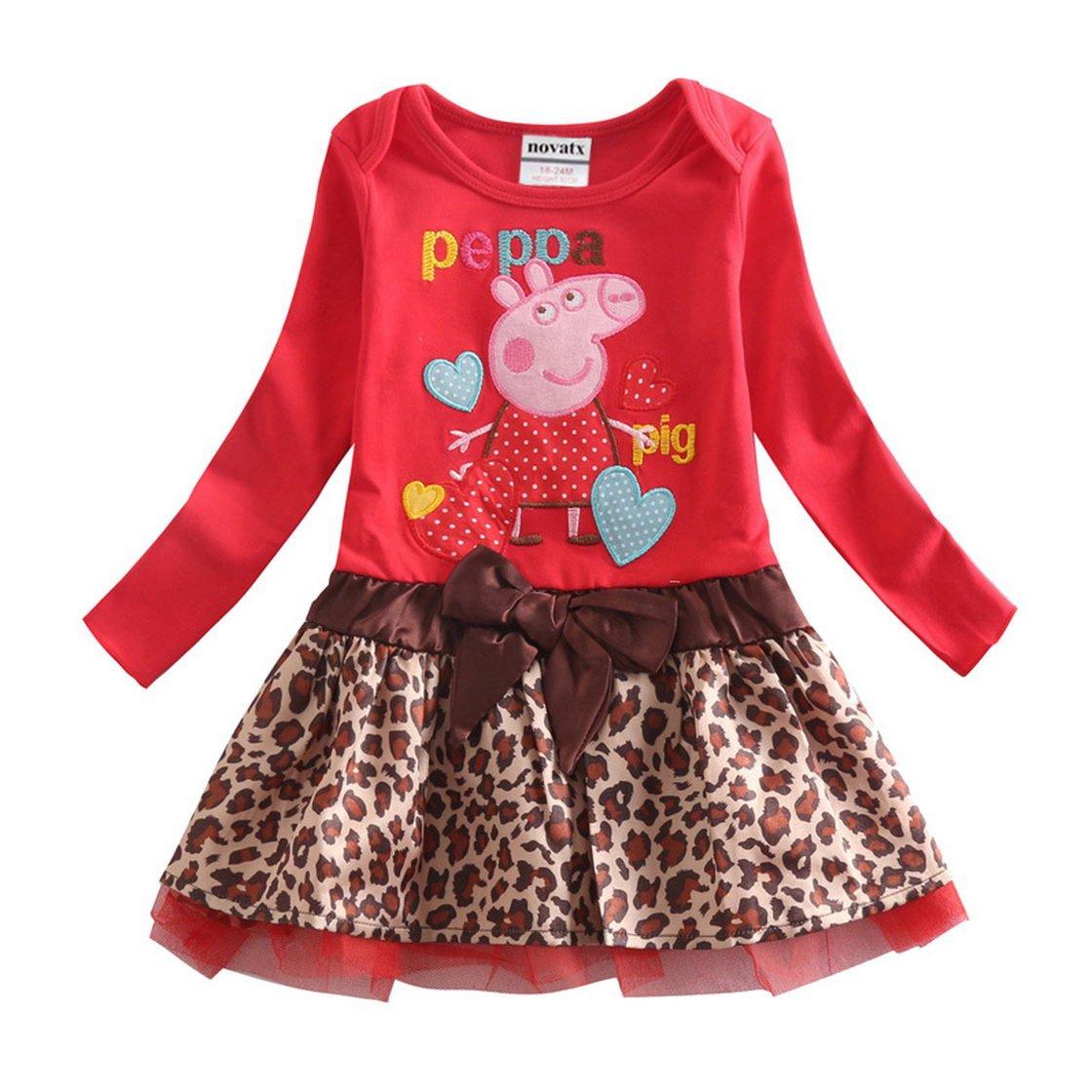 Peppa Pig Little Girls Long Sleeve Cartoon Stitching Cotton Flounced Dress 1-6Y Tiful