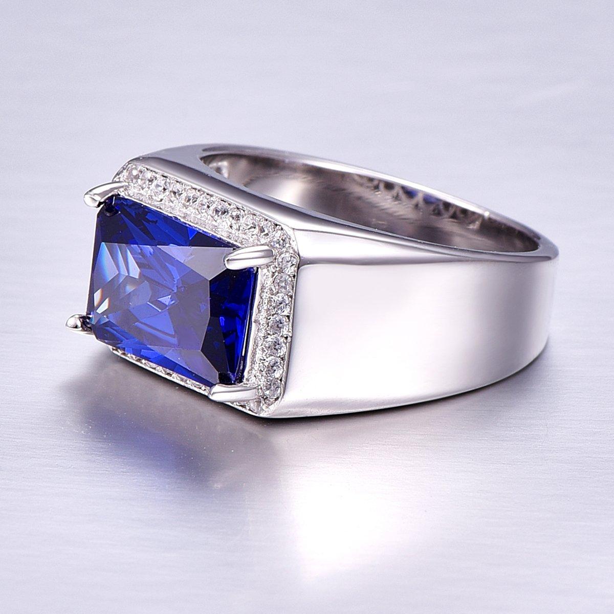 BONLAVIE 7.0ct Square Created Blue Sapphire 925 Sterling Silver Men's Ring Size 6 by BONLAVIE (Image #5)