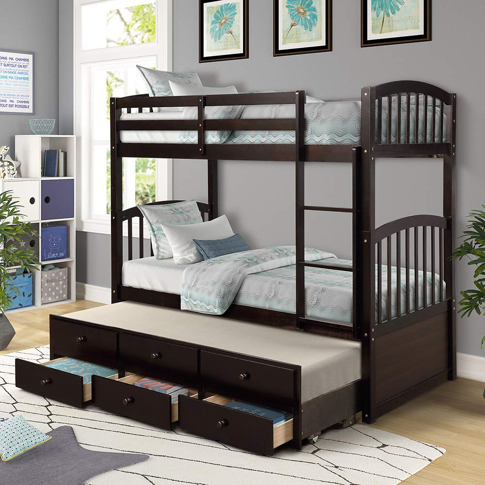 Solid Wood Bunk Beds for Kids, Hardwood Twin Over Twin Bunk Bed Frame with Trundle and Storage Drawers Espresso Front Ladder