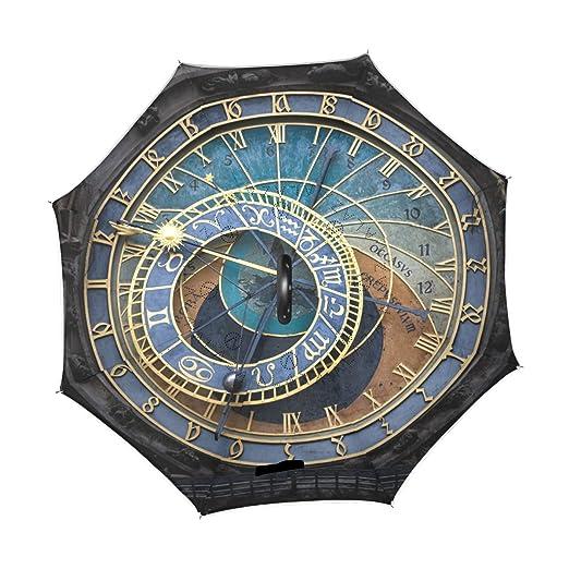 COOSUN La Capa de Reloj astronómico de Praga Doble del Paraguas invertido inversa para el Coche y el Uso al Aire Libre a Prueba de Viento Impermeable Lluvia ...