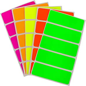 ChromaLabel 1 x 3 Inch Permanent Color-Code Rectangle Labels, 150 Stickers/Pack, Assorted Fluorescent